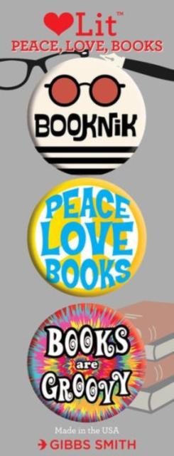 Peace, Love and Books 3 Badge Set