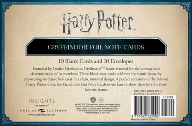 Harry Potter: Gryffindor Foil Note Cards
