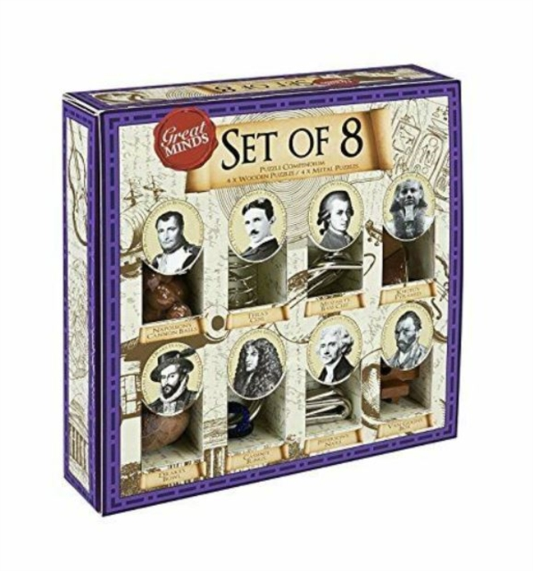 Great Minds Set of 8 Puzzle Compendium (4 Wooden, 4 Metal)