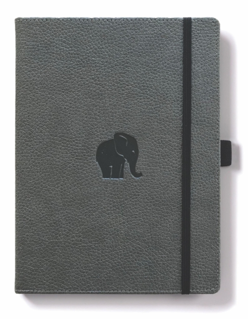 Dingbats A4+ Wildlife Grey Elephant Notebook - Graph