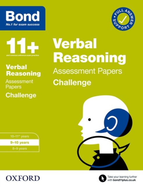 Bond 11+: Bond 11+ Verbal Reasoning Challenge Assessment Papers 9-10 years