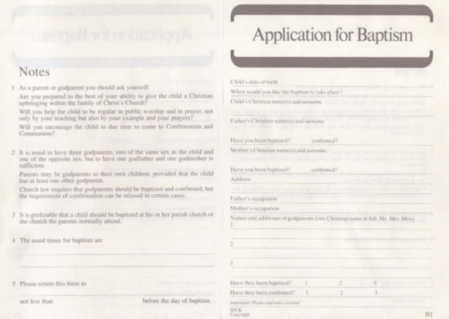 Application for Baptism: Form B1