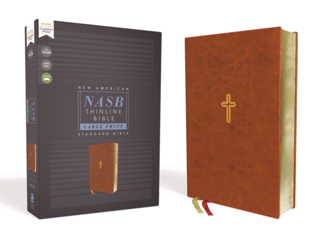 NASB, Thinline Bible, Large Print, Leathersoft, Brown, Red Letter, 1995 Text, Comfort Print