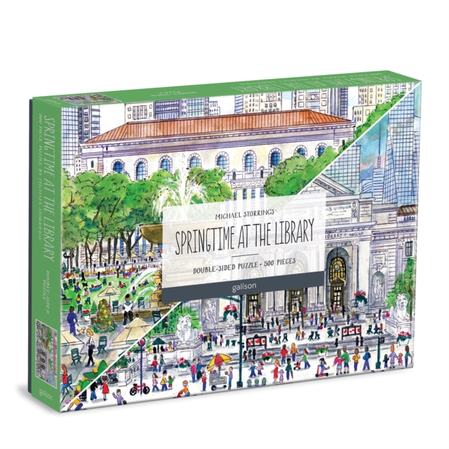 Michael Storrings Springtime at the Library 500 Piece Double-Sided Puzzle
