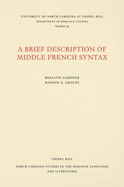 Brief Description of Middle French Syntax
