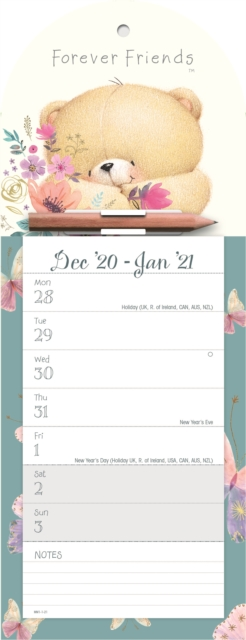 Forever Friends Week-to-View Magnetic Memo Slim Calendar 2021