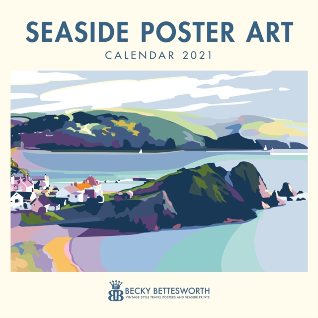 Seaside Poster Art by Becky Bettesworth Square Wall Calendar 2021