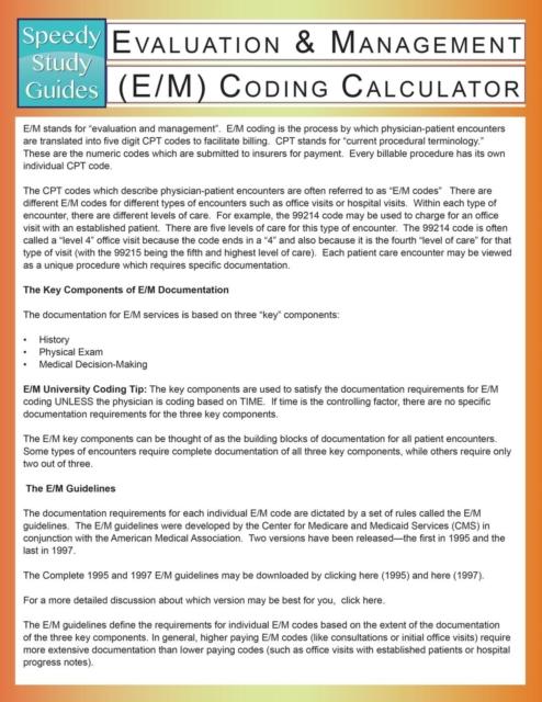 Evaluation & Management (E/M) Coding Calculator