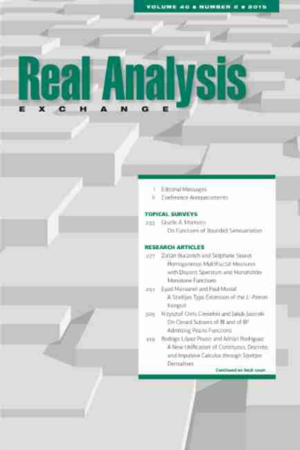 Real Analysis Exchange 40, No. 2