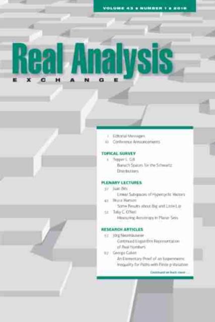 Real Analysis Exchange 43, No. 1