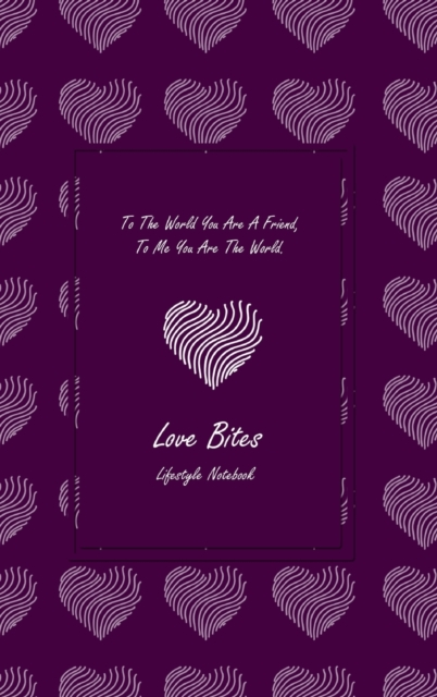 Love Bites Lifestyle Write-in Notebook, Dotted Lines, 288 Pages, Wide Ruled, Size 6 x 9 (A5) Hardcover (Purple)