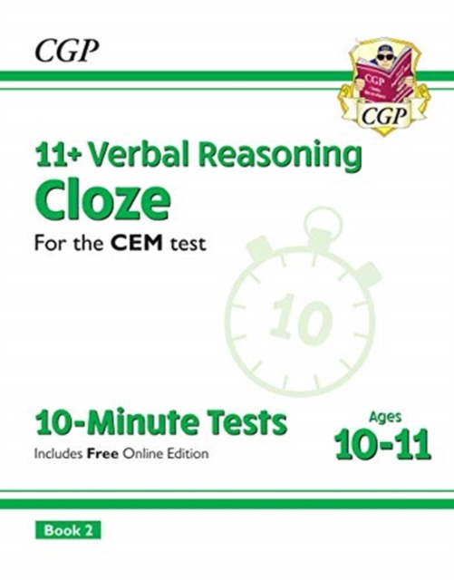 New 11+ CEM 10-Minute Tests: Verbal Reasoning Cloze - Ages 10-11 Book 2 (with Online Edition)