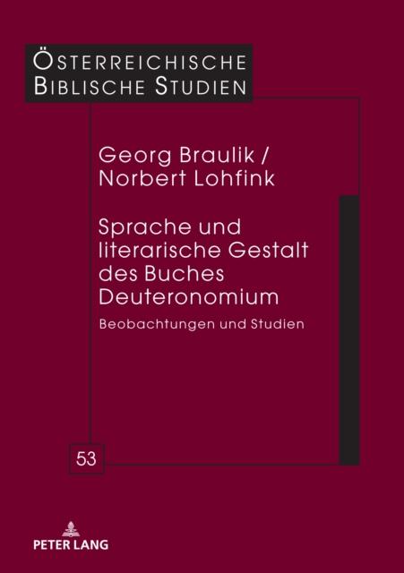 Sprache Und Literarische Gestalt Des Buches Deuteronomium