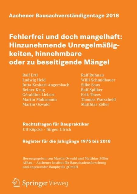 Aachener Bausachverstandigentage 2018