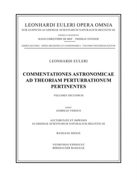 Commentationes astronomicae ad theoriam perturbationum pertinentes
